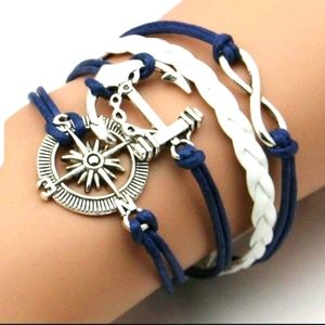 Nautical leather silver braclet